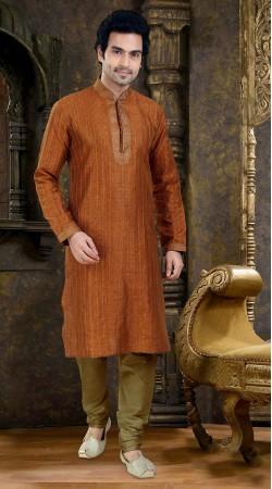 Astonishing Thread Work Rusty Orange Poly Jacquard  Kurta Payjama SIL1438