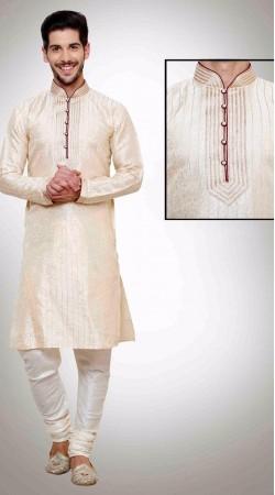Astonishing White Kela Resham Brocade Kurta Payjama DTKP1351