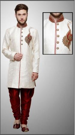 Astonishing White Silk Brocade Indowestern Jodhpuri Pant Sherwani DTINDO6860