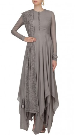 Attracts Million Georgette Grey Handkerchief Hemline Kameez SUMS26617