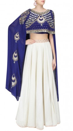 Auspicious Blue Extra Long Sleeves Choli Off White Silk Designer Lehenga SUUDL24119