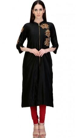 Auspicious Dabka Work Silk Black Designer Front Zip Long Kurti SMB1102