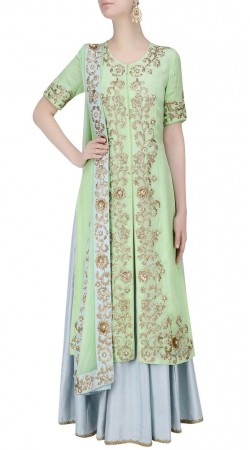 Auspicious Pastel Green Silk Designer Embroidered Long Choli With Lehenga SUUDL22119