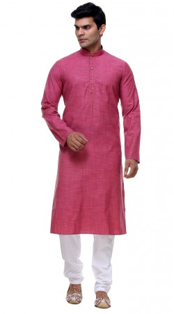 Auspicious Pink Thread Work Cotton Kurta Pajama For Mens GR142406
