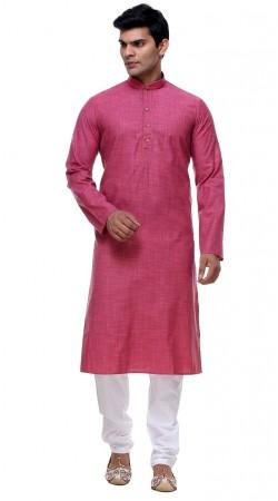 Auspicious Pink Thread Work Cotton Kurta Pajama For Mens GR142406