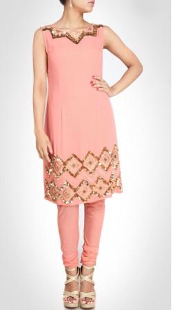 Auspicious Sequins And Hand Work Ligth Pink Designer Kameez SUMS25017