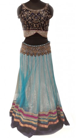 Auspicious Sequins Work Sky Blue Fine Net Lehenga With Navy Blue Choli LD000107