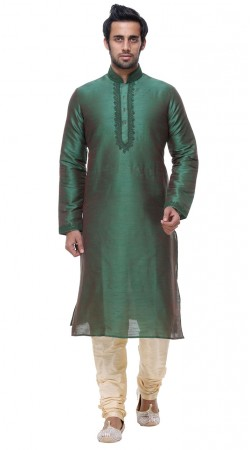 Auspicious Silk Rama Green Neck Embroidered Mens Kurta GR139703