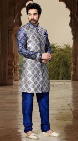 Auspicious Silver Jacquard Sherwani With Art Dupion Bottom RL1152101