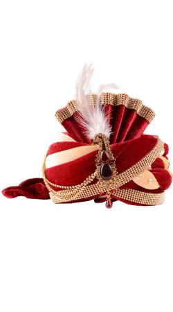 Auspicious Stone Work Red Velvet Groom Wedding Pagri With Kalgi ZP0910