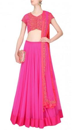 Awe Inspiring Designer Silk Choli Pink Net Lehenga SUUDL16118