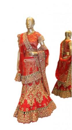 Awe Inspiring Red Net Designer Bridal Lehenga Choli With Dupatta SD0658