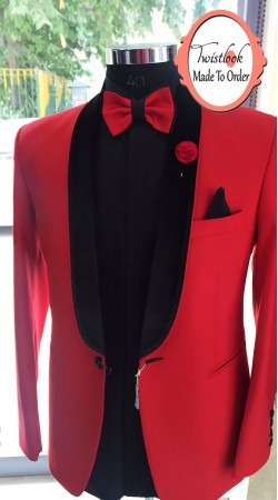 Awe Inspiring Red Premium Fabric Mens Tuxedo Suit BP0615