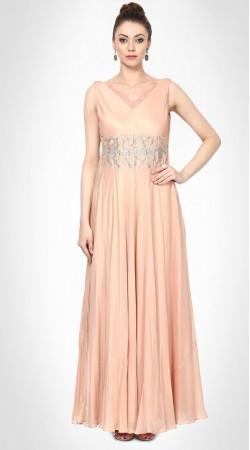 Awe Inspiring Silk Light Peach Designer Hand Work Gown Style Kameez SUMS25217