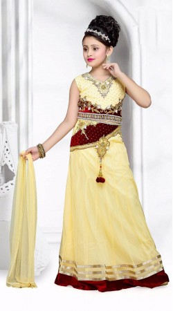 Awesome Cream Net Kids Girl Lehenga Choli With Dupatta DTK2052