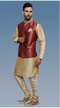 Awesome Cream Silk Modi Style Kurta Payjama For Men DTKPJ7060