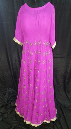 Awesome Flat Chiffon Pink Dabka Work Designer Floor Length Gown SMEXC3302