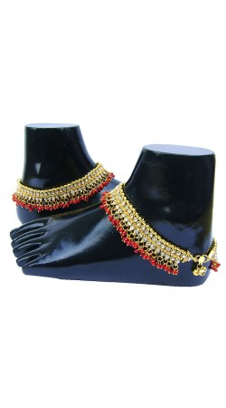 Awesome Gold Zircon Plated And Red Moti Women Fashion Anklet N72598