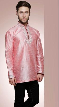 Awesome Light Pink Dupian Silk Neck Embroidered Men Short Kurta DTGK759