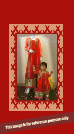 Awesome Red Net Matching Matching Mother Daughter Dress BP0526