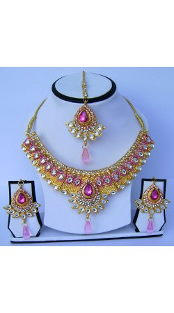 Awesome Stone Work Golden Plated Necklace Set With Tika N60899