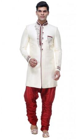 Awesome White Brocade Hand Work Mens Indo Western Wedding Sherwani GR133605