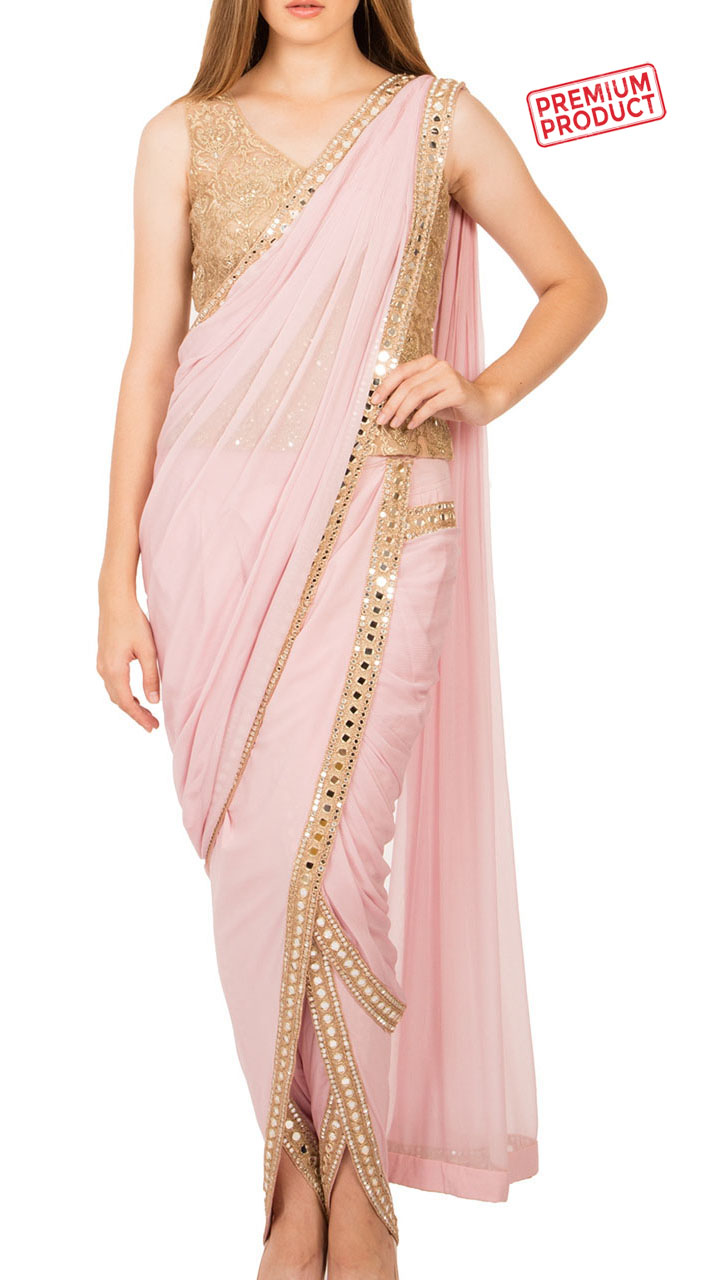 Baby Pink Chiffon Designer Dhoti Saree With Mirror Work Bp2134