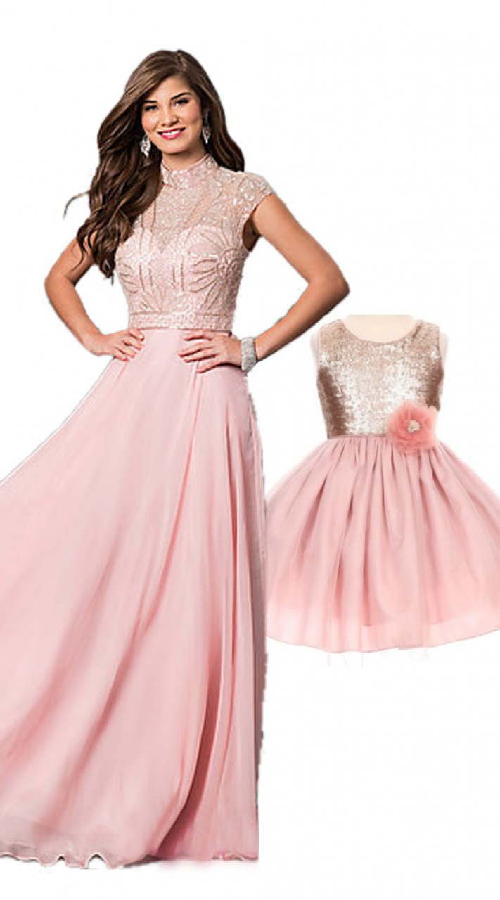 Baby Pink Mom And Daughter Birthday Party Dress Bp1551