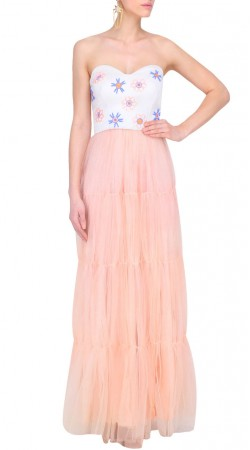 Baby Pink Net Designer Strapless Neck Gown Style Suit SUUDS46226