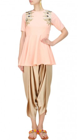 Baby Pink Short Anarkali With Dhoti Pant SUUDS50030