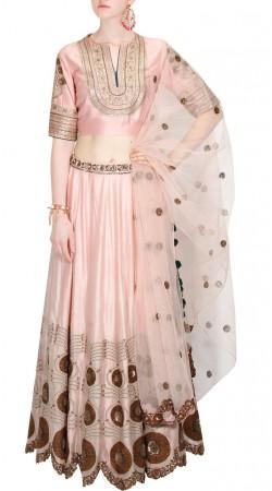 Baby Pink Silk Party Wear Crop Top Lehenga SUUDL30931