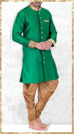 Banarasi Silk Green Indo Western Kurta Pajama For Men 2MV1995121