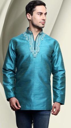 Banarasi Tassar Silk Light Blue Men Short Kurta DTDK1963