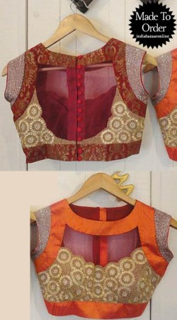 Beautiful Kasab Work Red And Orange Net Designer Blouse For Saree VPBDB18A