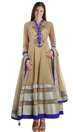 Beautiful Beige Net Exclusive Salwar Kameez With Dupatta SU22811