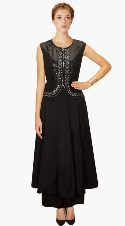 Beautiful Black Silk Designer Salwar Kameez With Duaptta SUMA1609