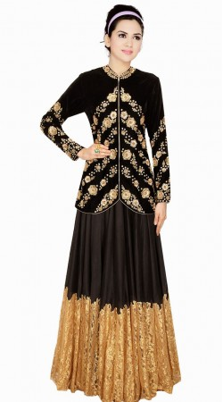 Beautiful Black Silk Embroidered Designer Salwar Kameez SUMA3009