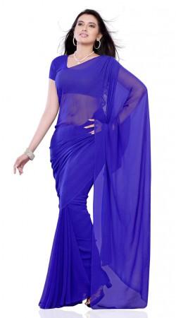 Beautiful Blue Chiffon Plain Saree With matching Blouse BP109A10