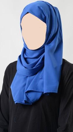 Beautiful Blue Crepe Hijab For Women BP0749