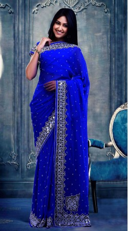 Beautiful Blue Faux Georgette Beautiful Saree With Blouse ZP0604