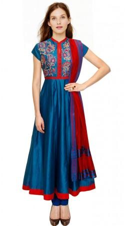 Beautiful Blue Silk Plus Size Salwar Kameez With Dupatta SUMA3909