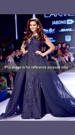 Beautiful Bollywood Star Esha Gupta Ink Blue Indowestern Gown BP0527