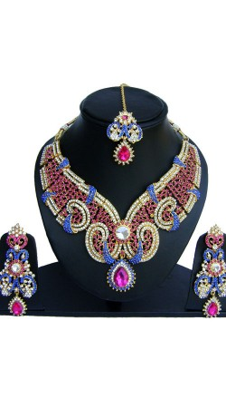 Beautiful Colorful Stones Work Necklace Set With Maang Tika NNP74202
