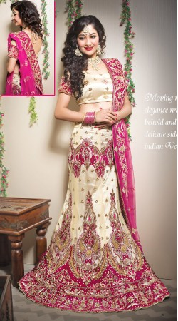 Beautiful Cream Net Bridal Lehenga Choli With Pink Dupatta LD00705