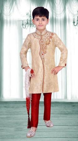 Beautiful Cream Premium Fabric Kids Boy Sherwani For Wedding DT284553