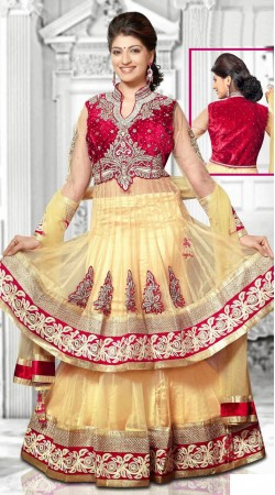 Beautiful Embroidered Cream Net Long Choli Lehenga With Dupatta DT91039