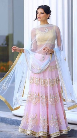 Beautiful Embroidered Pink Net Designer Replica Lehenga Choli BP0104