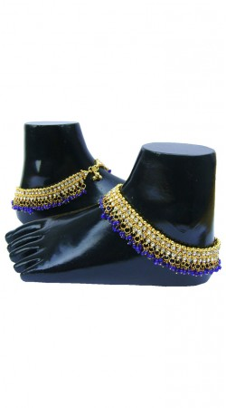 Beautiful Gold Zircon Plated And Blue Moti Designer Traditional Anklet N72898