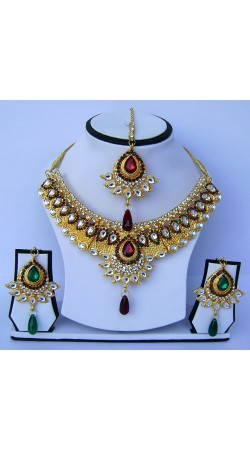 Beautiful Golden Plated Multicolor Stone Work Necklace Set With Tika N60999