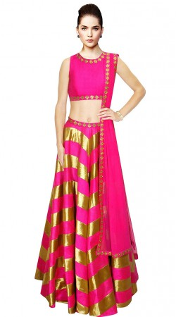 Beautiful Golden Stripe Pink Silk Crop Top Lehenga SUUDL9315
